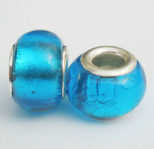 Glass foil BEAD European Style peacock blue -Buy 15 get a FREE BRACELET !