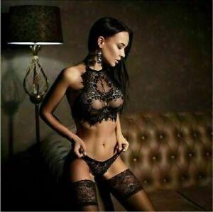 Damen Spitze Sexy Nachtkleid Negligee Transparent Unterwäsche Dessous Reizwäsche