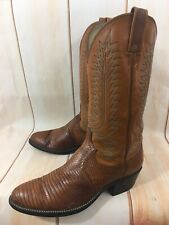VTG WOMENS DAN POST COWBOY LIZARD SKIN LEATHER BROWN BOOTS SIZE 9 D