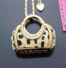 R675Y   Betsey Johnson crystal/ Yelloe leopard cute handbag pendant Necklace