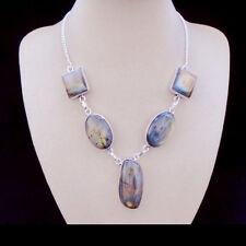 Labradorit grün grau blau Design Halskette Kette Collier Silber plattiert neu