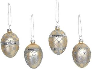 Gisela Graham Set of 4 Gold Glass Egg Christmas Tree Bauble Decorations (5cm)