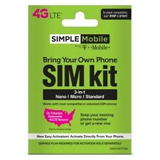 SIMPLE MOBILE SIM CARDS FITS ALL PHONES T-MOBILE NETWORK, LATEST MODEL 3 IN 1