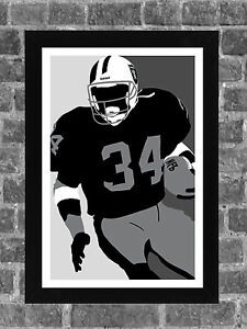 Oakland Raiders Bo Jackson Sports Portrait Print Art 11x17