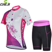 UK Stock Lady Bike Cycling Sports Wear Jersey Top Shirt / Padded Shorts S-XXL