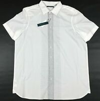 Mens Perry Ellis Dress Shirt Size Big and Tall XLT White Black Dots Button Front