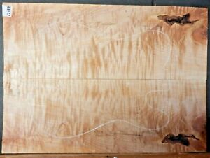 Figured Tiger Maple Wood 12199 Luthier 5A Guitar Top Set 23 x 17 x .500