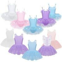 Girls Floral Ballet Dance Kids Gymnastics Leotard Lace Back Tutu Dress Costume