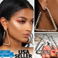 "3.5"" Large Triangle Crystal Rhinestone Hoop Earrings Silver Gold Square Rainbow"