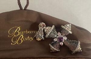 NWOT Barbara Bixby Black Mother of Pearl Amethyst Cross Enhancer Pendant