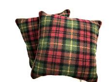 LL Bean Plaid Pillows Lot 2 Throw Lodge Camp Rustic Tartan Red Green Goose Down