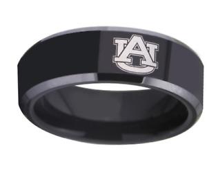 New Auburn Tigers Black Tungsten Steel Ring Sizes 6 7 8 9 10 11 12 13