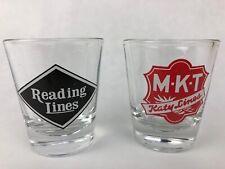 M.K.T LINES + READING LINES RAILROAD, Clear Glass Shot Glass Vintage 2 x Glasses