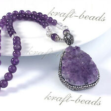 Natural Druzy Amethyst Quartz Pendant Amethyst Round Crystal Bead Chain Necklace