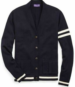 NWT Ralph Lauren Purple Label Men's Italian Navy Merino Wool Cardigan Sweater