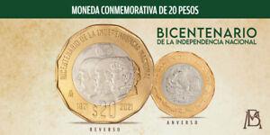 LOT OF 5 MEXICO 20 PESOS 2021 BICENTENARIO INDEPENDENCIA NACIONAL UNCIRCULATED