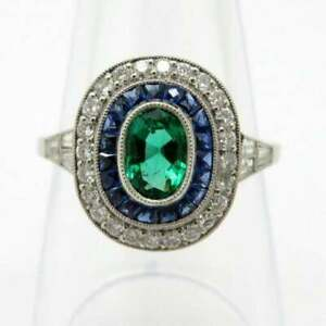 Halo Estate 925 Sterling Silver Emerald Sapphire White CZ Vintage Beautiful Ring