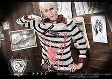 Punk visual Kei cosplay Death Note Amane Misa unisex striped jumper【JJ0007】men W