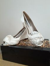 Diane B - White Satin Wedge Peep Toe Shoe with Detail to the Front - UK Size 5