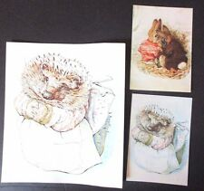 Vtg Beatrix Potter Large Greeting Card Mrs Tiggy-Winkle & 2 Post Cards Bunnies