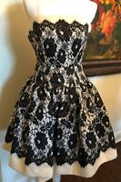 MILLY new York Size 2 An Original Strapless Dress Lace Design Black Cream White