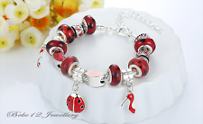 DIY Charm Red/Ladybird/High-heeled shoes Beads Braclet/RGB066