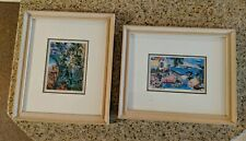 "2 EILEEN SEITZ 4"" x 5"" Signed Print Art  SEAGRAPE & Riveria Framed Matted Glass"