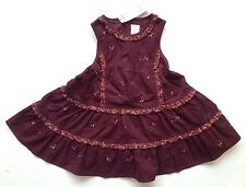 NWT Gymboree Peruvian Doll 18-24 Wine Tiered Floral Ruffle Corduroy Jumper Dress