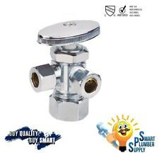 "Multi Turn Angle 3 Way Stop Valve 3/8"" X 3/8"" X 5/8"" Compression (151-02)"