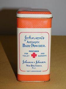 "5 1/4"" HIGH JOHNSON'S ANTISEPTIC BABY POWDER TIN *EMPTY* 100TH ANNIVERSAY"