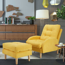 YODOLLA Accent Chair w/ Ottoman Upholstered Modern Single Sofa Recliner Yellow