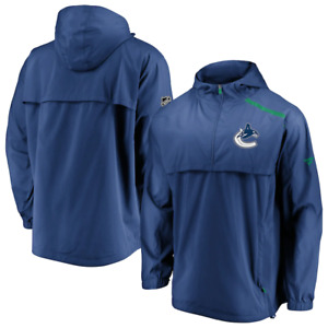 Fanatics Vancouver Canucks NHL Authentic Pro Mens 1/4 Zip Hooded Jacket Size L