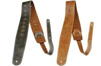 """Perri's 2.5"""" Distressed Soft Leather Guitar Strap Perforated Vents Gray or Tan"""