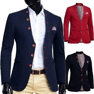 Mens Knitted Jacket Waistcoat look Blazer Grandad Shawl Collar Slim Fit Blue Red