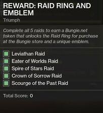 Destiny 2 Raid Ring and Emblem Triumph COS, SoTP, Levi, SOS, EOW raid completion