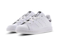 adidas Stan Smith Infant Kids Trainers Triple White Hook And Loop Sizes 3-9.5