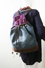 LUCKY BRAND HANDBAG DENIM AND SUEDE DRAWSTRING BACKPACK BUCKET BAG PURSE