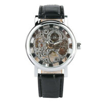 Men Transparent Skeleton Watch Hand Winding Mechanical Wristwatch Leather Strap