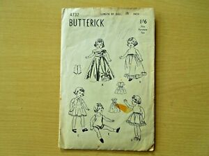 "BUTTERICK VINTAGE DOLL CLOTHES SEWING PATTERN 4732 for 18"" DOLL CHECKED COMPLETE"