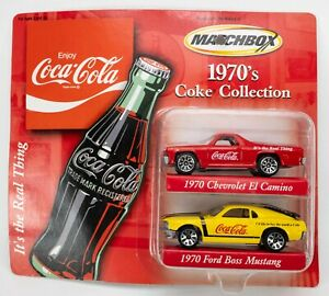 2001 Matchbox 1970's Coke 2-Pack Chevy El Camino RED / Ford Boss Mustang YELLOW