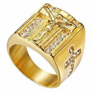Mens Stainless Steel Gold CZ Jesus Prayer Cross Crucifix Ring For Men Size 8-13