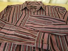Mens NEXT Purple Pink Red Black Tailored Fit Long Sleeved Striped Shirt L Large