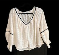 Free People Womens ivory white lace peasant blouse shirt top S Small Medium M