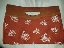 VINTAGE HAWAIIAN Brown Vinyl canvas souvenir Hand Bag Clutch Hawaii 60's Hawaii