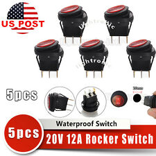 Red 5pcs 12V 20A Waterproof Round On/Off Rocker Switch Car Auto Boat SPST Marine