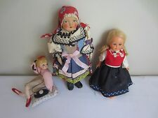 Lot of 3 Vtg Antique Dolls Hand-made Hand-painted Paper Mache Cloth Fabric Wood