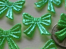 100! Cute Padded Bow Embellishments - Iridescent Green Bows - 20mm/0.75""
