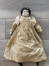 Antique Porcelain Head and Cloth Body Doll, 23 1/2�Black Hair Blue Eyes, German
