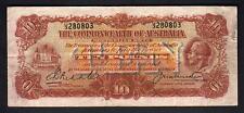 Australia R-55. (1927) 10 Pounds - Riddle/Heathershaw.  Prefix U/3.  aVF - Crisp