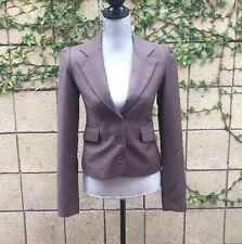JUICY COUTURE 100% VIRGIN WOOL BROWN  3 BUTTON BLAZER  JACKET SIZE P
